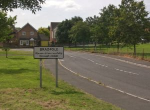 "alt="" Bradpole road sign atTownsend Way"""