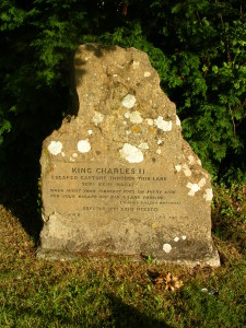 A photo of the King Charles II stone at Lee Lane