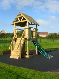 "alt=""The newly installed tower at Pageant's Play Area"""
