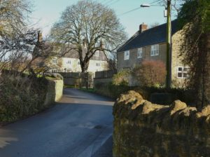 A photo of old houses in Forster's Lane, Bradpole
