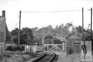 "alt=""An archive photo of Bradpole Level Crossing with train"""