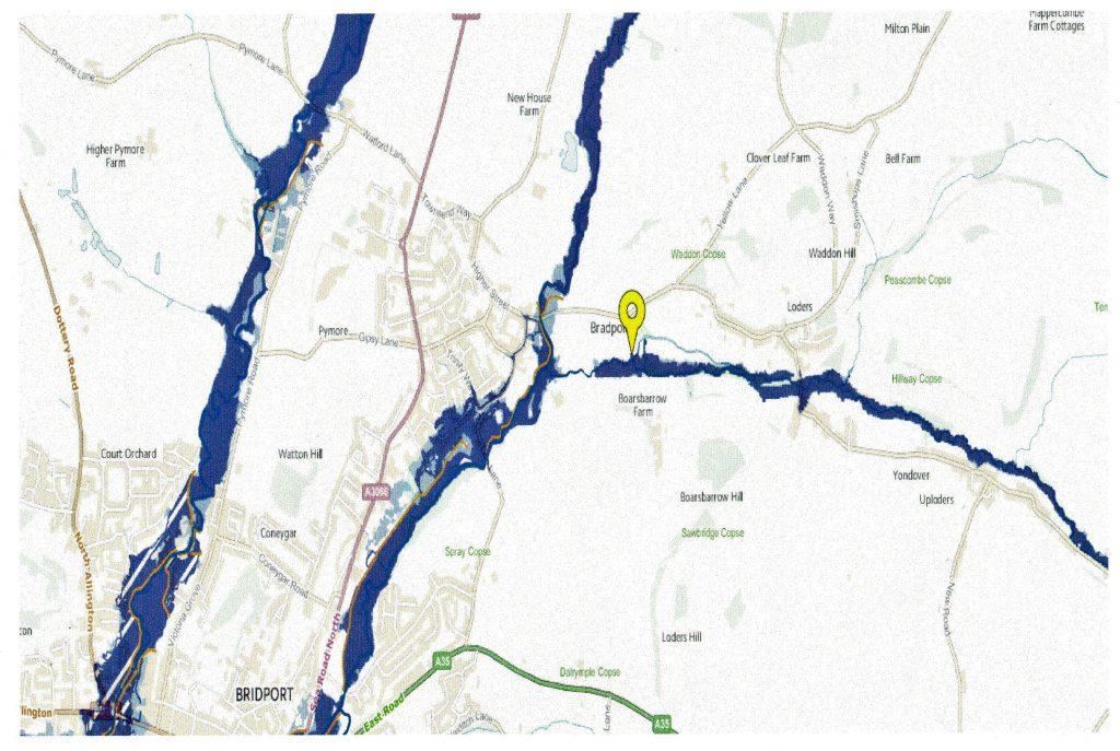 "alt=""Map of flood risk areas in Bradpole Civil Parish"""