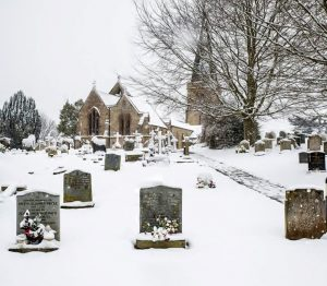 "alt=""winter snows at Bradpole Churchyard"""