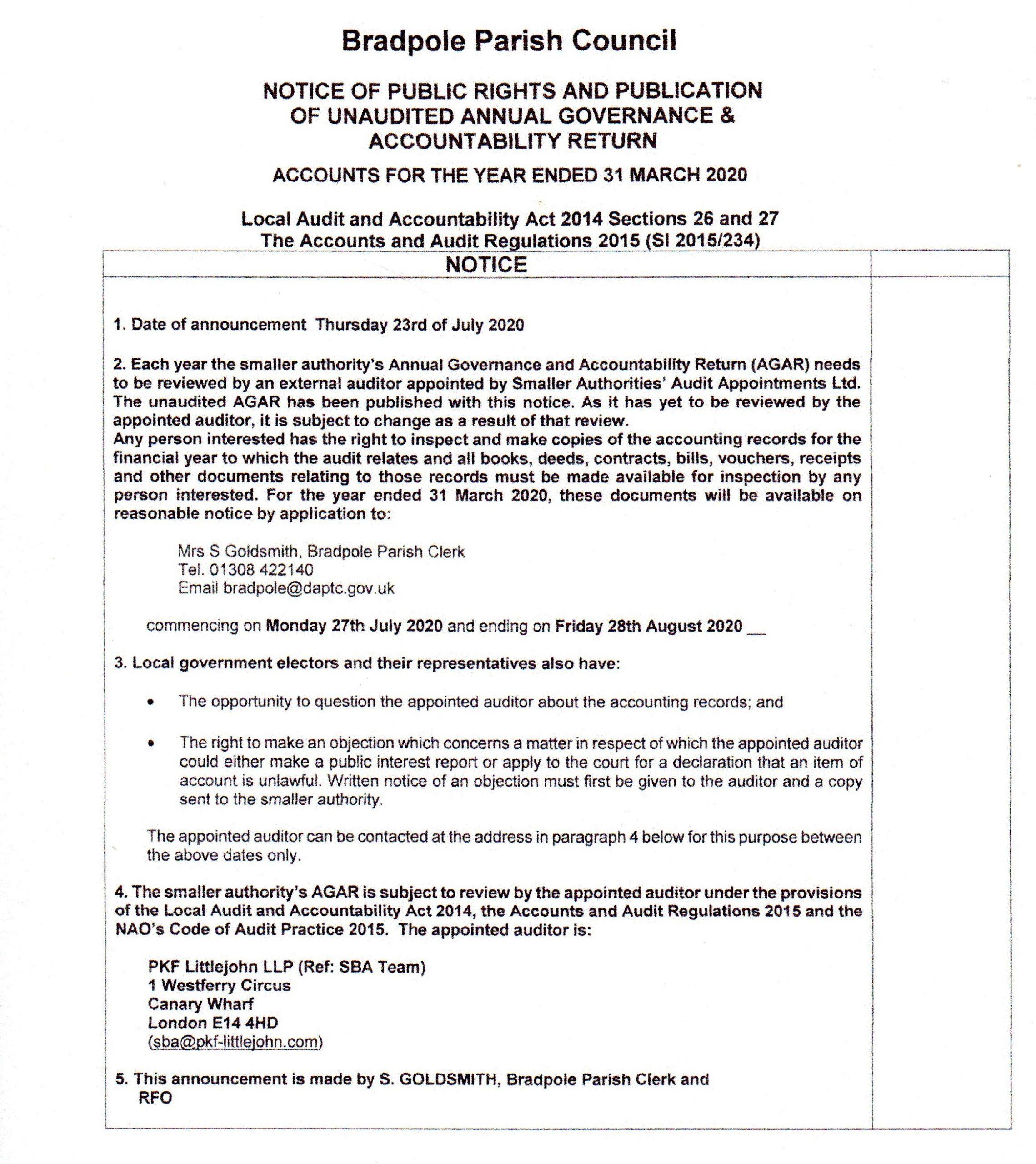 """alt=""""Public Notice regarding the Parish Council Audit march 2020"""""""