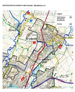 "alt=""Plan of defined development boundary for Bradpole"""